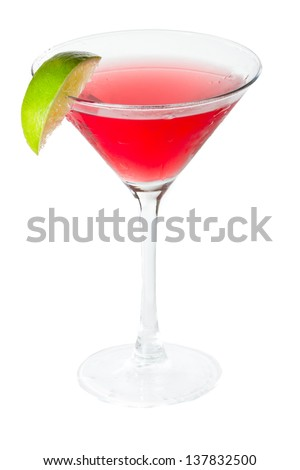 isolated cosmopolitan on a white background garnished with a lime - stock photo