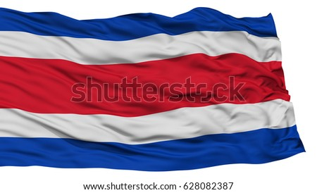 Isolated Costa Rica Flag, Waving on White Background, High Resolution