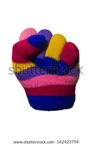 isolated counting colorful kid glove