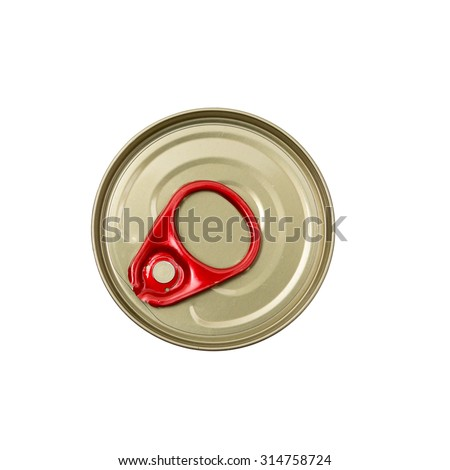Isolated cover of canned food on white background,Top view. - stock photo