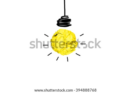 isolated creative inspiration from colorful concept crumpled paper light bulb metaphor for good idea concept on white background / solution thinking answer  - stock photo
