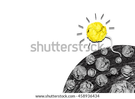 isolated creative inspiration from colorful concept crumpled paper light bulb sperm metaphor for good idea concept on white background/new solution born from think/ idea sperm from problem solving - stock photo
