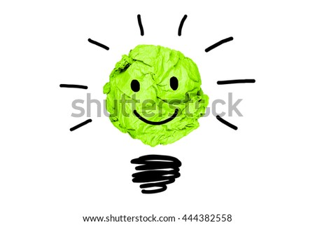 isolated creative inspiration from colour concept smile green crumpled paper light bulb metaphor for good idea on white background / solution think answer  - stock photo