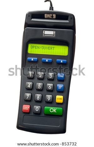 Isolated credit card terminal - stock photo