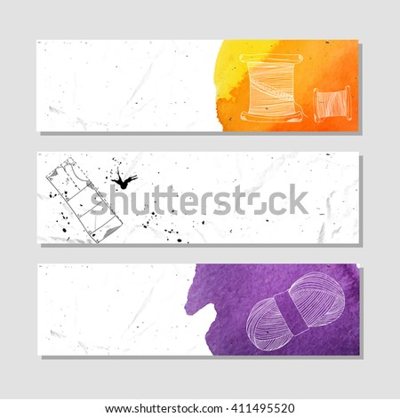 Isolated crumpled paper banner for your design. Instruments and items for use in crafts and sewing. illustration - stock photo