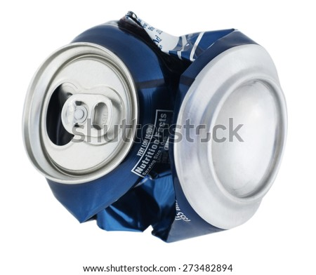 Isolated Crushed Can - stock photo