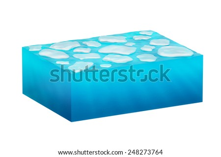 isolated cube of ice water on a white background. - stock photo
