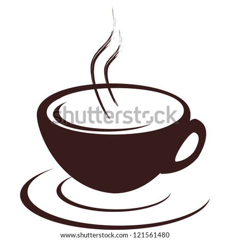 Isolated cup of hot coffee - stock photo