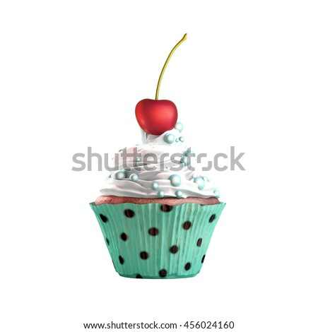 Isolated cupcake with cream, cherry and candies. 3D Rendering - stock photo