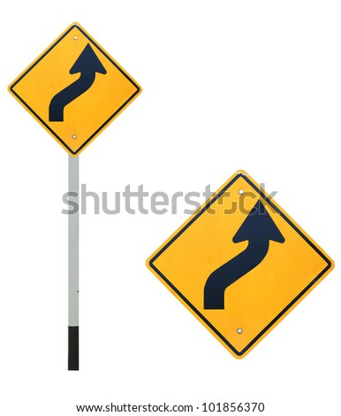 Isolated curve traffic sign