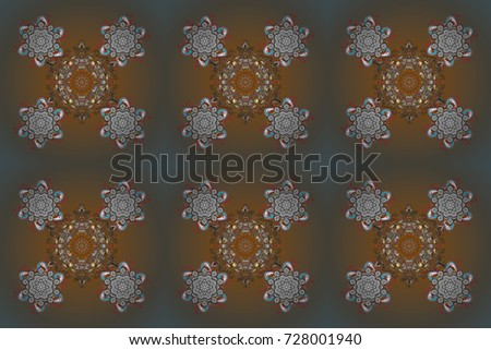 Isolated cute snowflakes on colorful background. Snowflake raster pattern. Snowflakes on a colored background. Raster illustration.