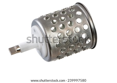Isolated cylindric drum grater (rotary cheese grater) - stock photo