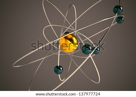 Isolated 3D atom model with yellow and blue particles. The central nucleus are surrounded by a cloud of negatively charged electrons. - stock photo