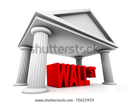 isolated 3d concept of Wall Street - stock photo