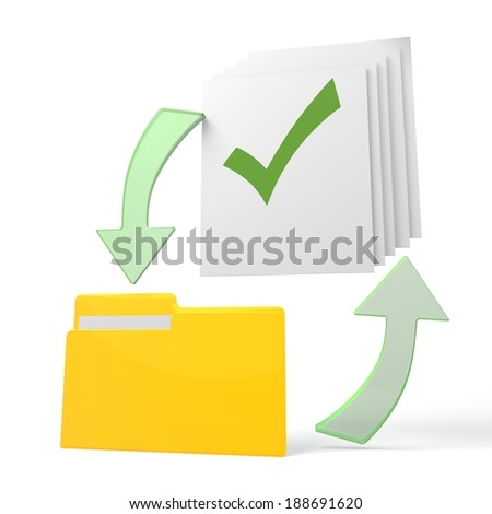 isolated 3d file folder with check symbol on documents with symbol for upload and download