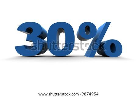 isolated 30% - 3d illustration on white background - stock photo