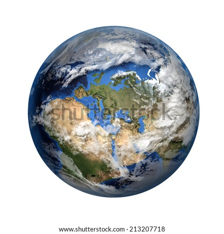 Isolated 3D image of planet Earth. View to Europe and Africa. Elements of this image furnished by NASA. - stock photo