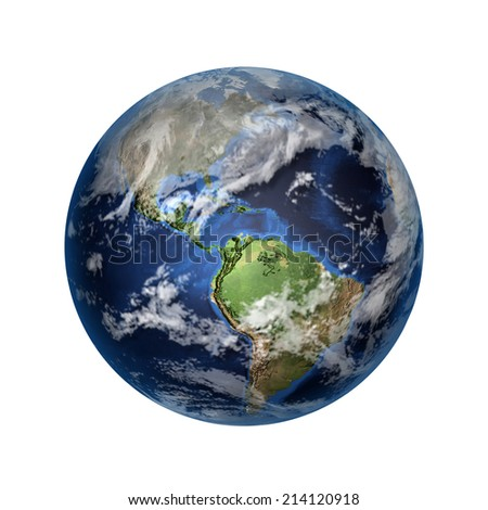 Isolated 3D image of planet Earth. View to North and Latin America. Elements of this image furnished by NASA. - stock photo