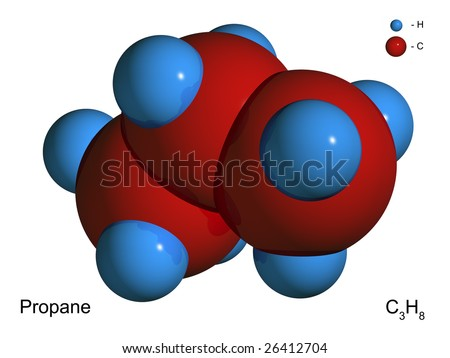 Isolated 3D model of a molecule of propane on a white background - stock photo