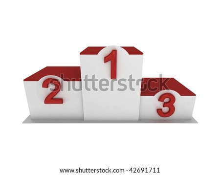 Isolated 3d red and white pedestal / podium with numbering