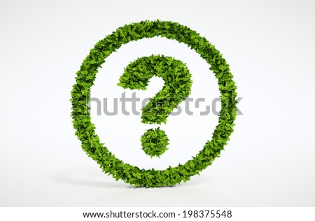 Isolated 3d render natural leaf question symbol with white background - stock photo