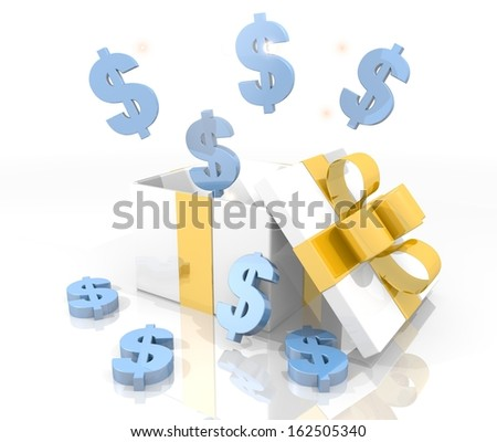 isolated 3d rendered gift on white background with glittering Dollar symbol coming out of it
