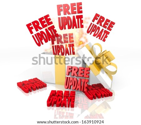 isolated 3d rendered gift on white background with glittering free update icon coming out of it