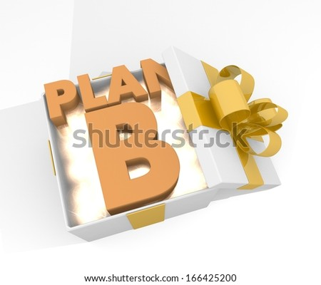 isolated 3d rendered xmas present with glittering plan b symnol inside seen from top with white background - stock photo