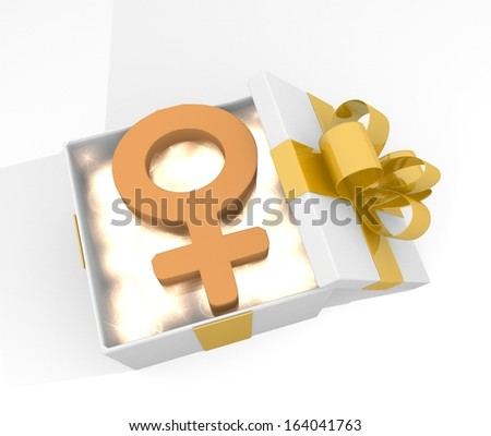 isolated 3d rendered xmas present with glittering woman symbol inside seen from top with white background
