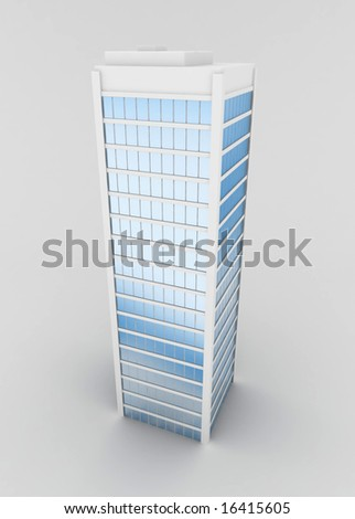 Isolated 3d skyscraper model, vertical