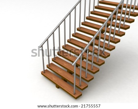 isolated 3D stairs against white background - stock photo