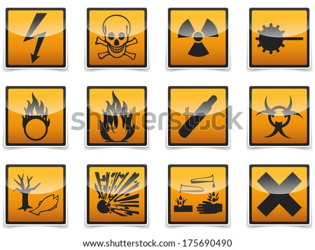 Isolated Danger, hazard sign, icon collection with shadow on white background. - stock photo