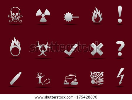 Isolated Danger sign collection with light gradient and shadow on red background - stock photo