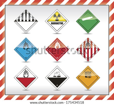 Isolated Danger symbol - sign collection with shadow and red-white border. - stock photo