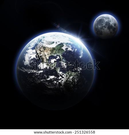 Isolated Dark Earth - Elements of this Image Furnished by NASA
