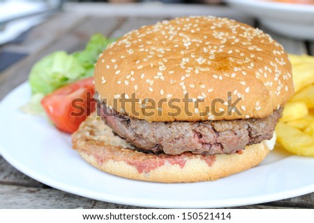 isolated delicious american burger in table