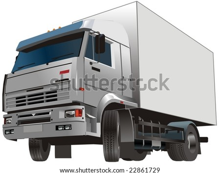 Isolated delivery/cargo truck. Vector version see in my portfolio. - stock photo