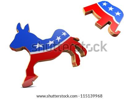 Isolated Democrat Symbol Kicks Republican Symbol - stock photo