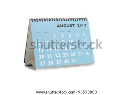 Isolated desktop calendar showing the month of August 2012