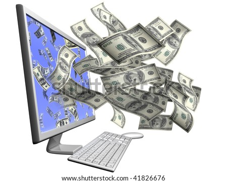 Isolated desktop computer throwing out hundred dollar bills through the screen
