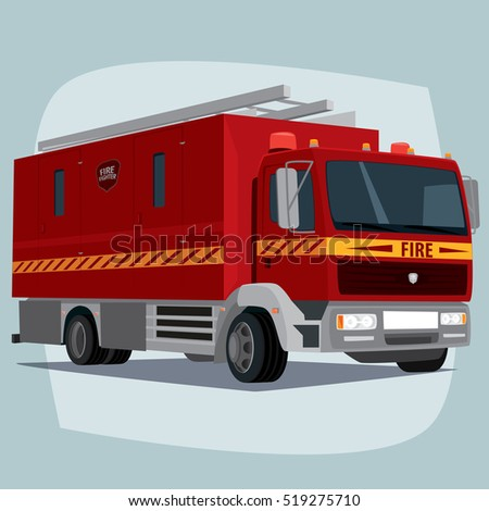 Isolated, detailed images of three-dimensional firefighting apparatus, fire engine car, the main device of firefighters, in cartoon style. Side front view. Raster version of illustration