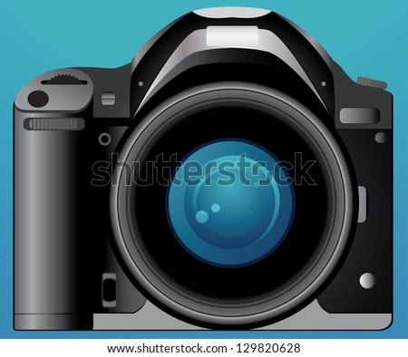isolated digital photo camera on blue background - stock photo