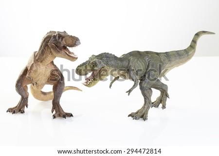 Isolated dinosaur on white background - stock photo