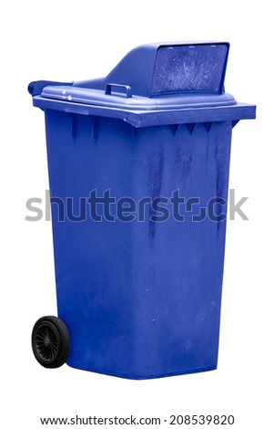 isolated dirty old blue bin with wheel - stock photo