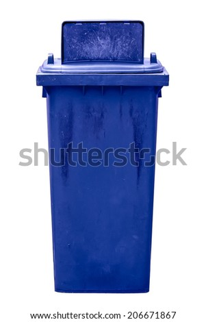 isolated dirty old blue bin without wheel