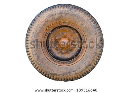 Isolated Dirty old wheel, dry mud on wheel - stock photo