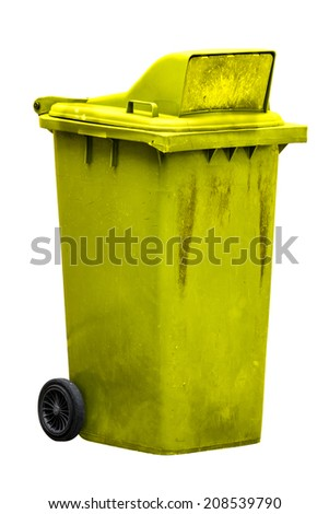 isolated dirty old yellow bin with wheel