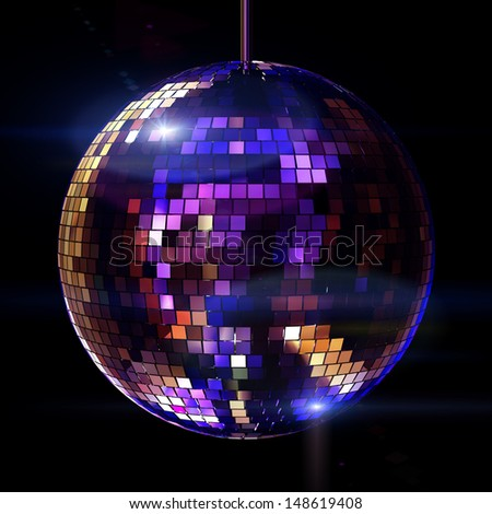 Isolated disco ball on the black background - stock photo