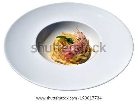 isolated dish of Italian pasta with seafood  - stock photo