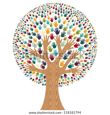 Isolated diversity tree hands illustration for greeting card.